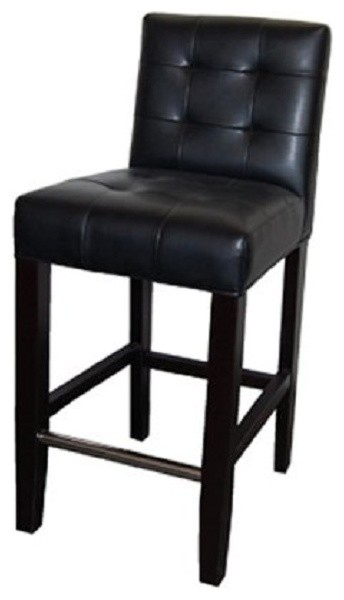 Low Back Tufted Leather Stool Black 26 Quot Counter Height