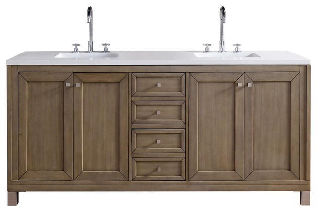 Chicago 72 White Washed Walnut Double Vanity No Top