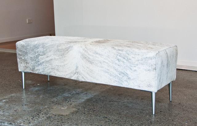 light grey cowhide bench ottoman for end of bed. Black Bedroom Furniture Sets. Home Design Ideas