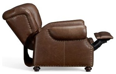 Lansing Leather Recliner Polyester Wrapped Cushions Havana Brown Traditio