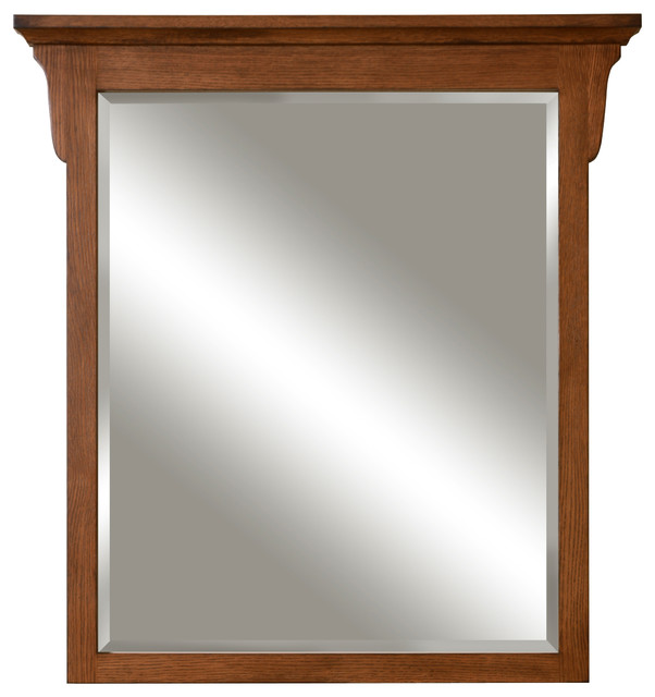 Mission Oak Framed Beveled Mirror Craftsman Bathroom