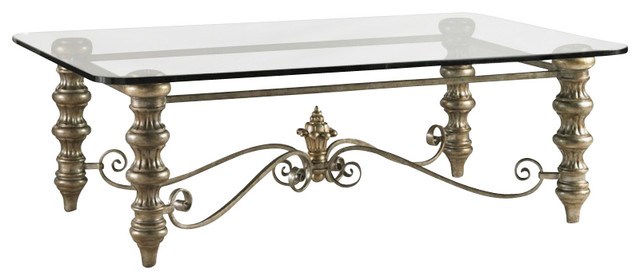 Henry Link Palazzo Silver Cocktail Table With Glass Top In Venetian Silver Finis Traditional