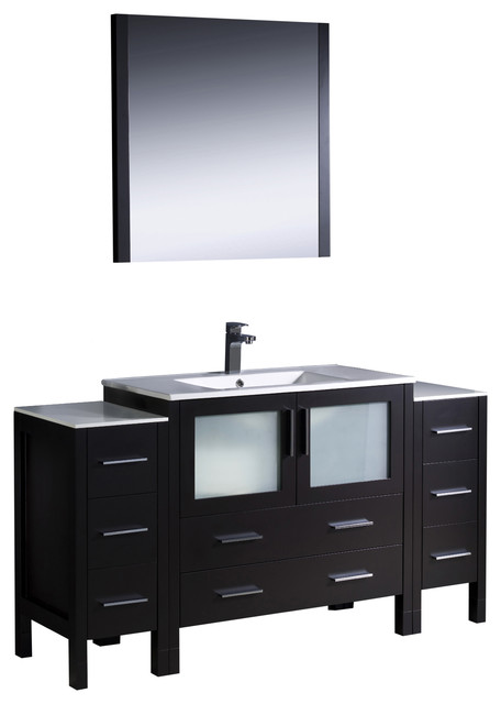 Fresca torino 60 espresso modern vanity 2 side cabinets and integrated sink modern - Moderne consoles ...