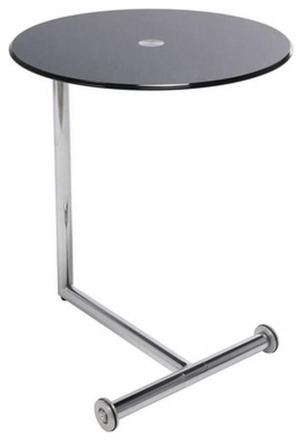 Table dappoint design ROLLS verre noir piétement acier