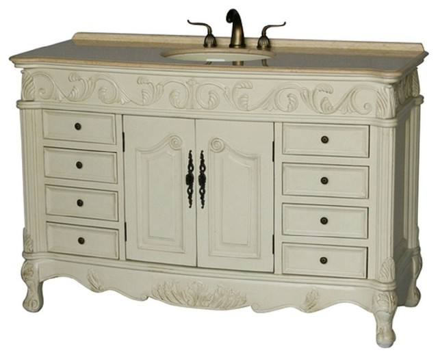 60 Traditional Bathroom Vanity Antique White Color Free