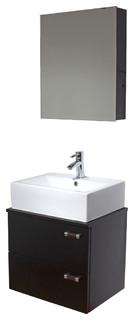 VIGO 22-inch Single Bathroom Vanity, Espresso Black Matte, With Medicine Cabinet - Modern ...