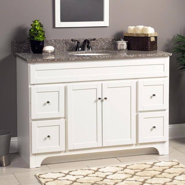 "White Transitional Bathroom Vanities: Worthington 48"" Vanity In White"