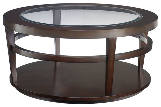 Hammary Urbana Glass Top Round Cocktail Table Traditional Coffee Tables