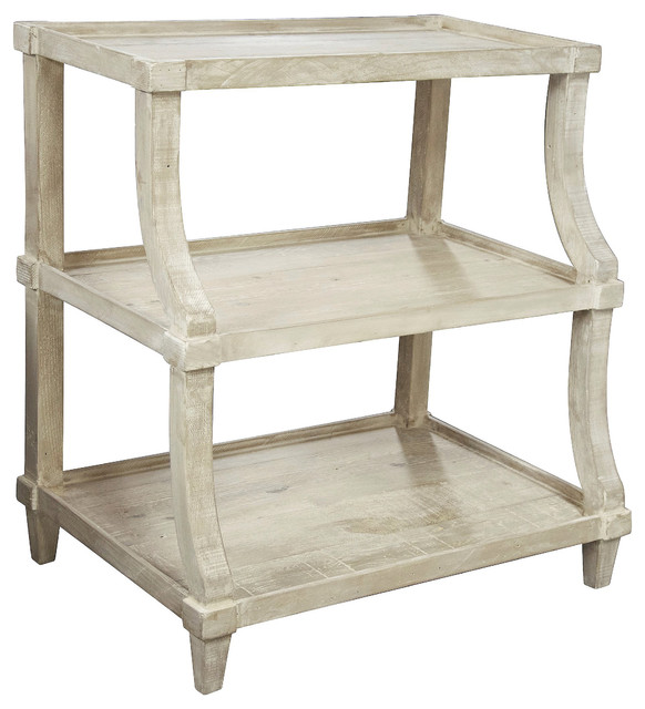 Malo French Country Gray Wash Curved End Table