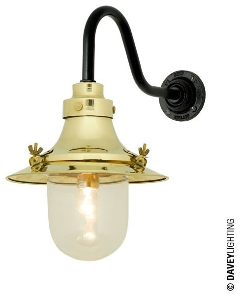 Small Industrial Wall Lights : Small Deck Light Wall 7125 Brass - Industrial - Wall Lights - by Peter Reid Lighting