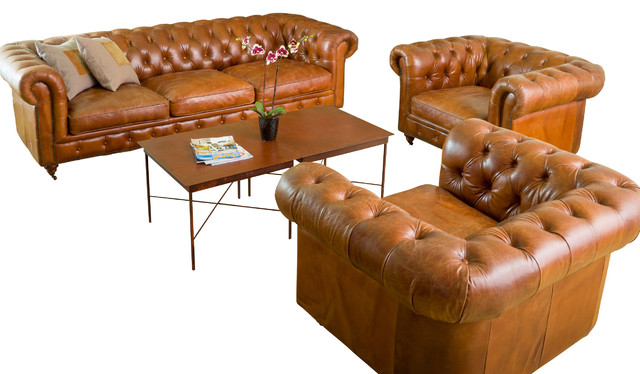 Claxton 3piece Tufted Brown Top Grain Leather Sofa Set