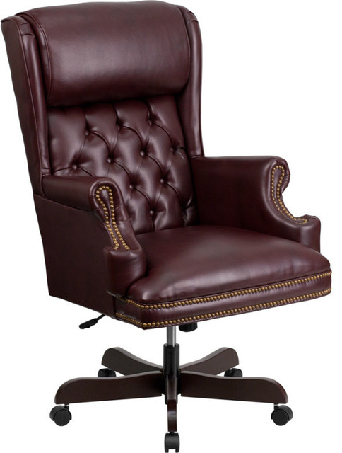 Flash Furniture High Back Tufted Burgundy Leather Executive Office Chair Traditional Office