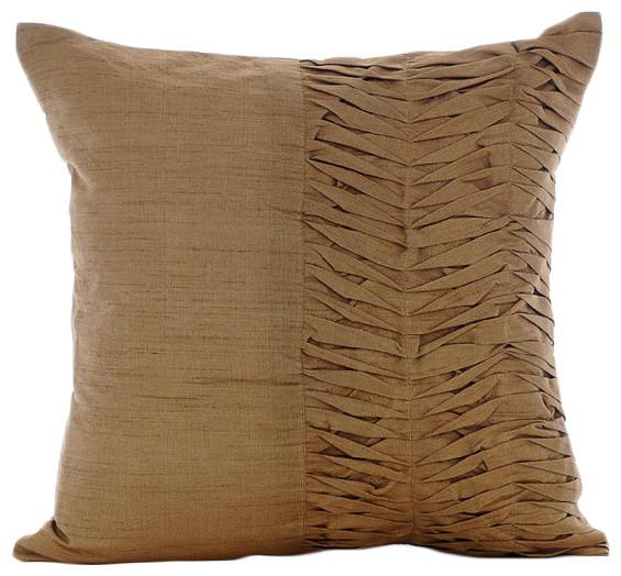 Brown Textured Throw Pillow : Gold Art Silk 12