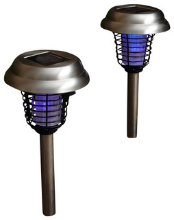 LED Solar Garden Lights With Bug Zappers, Set of 2