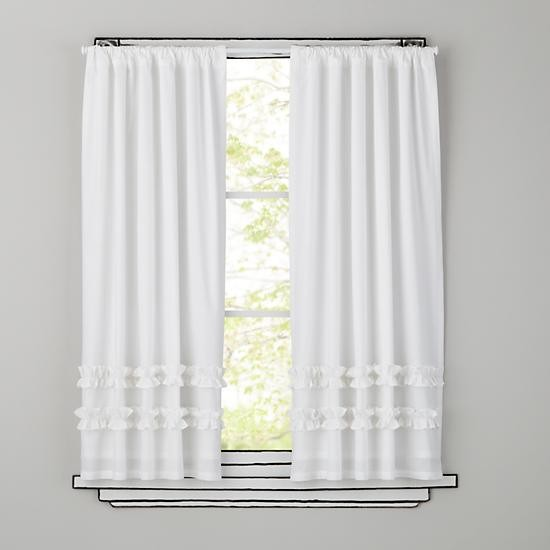 Ruffle Curtain Panel White Traditional Curtains By