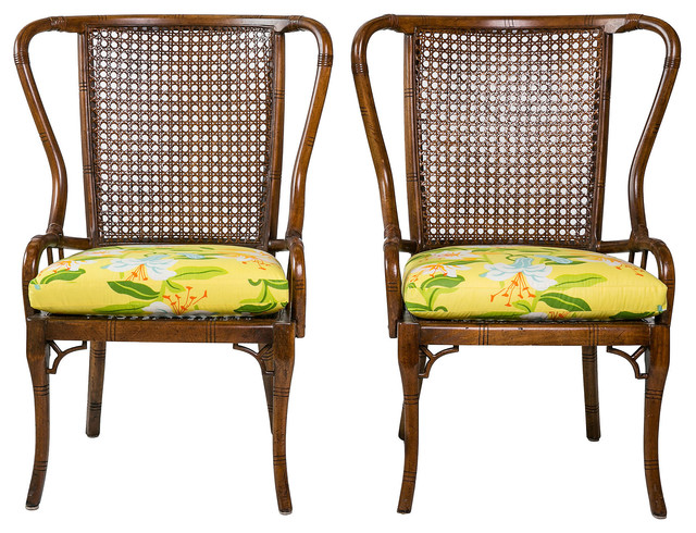 Rattan armchairs pair tropical armchairs and accent chairs for Triple papasan chair