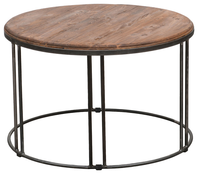 Burnham Reclaimed Wood Iron Coffee Table Contemporary Coffee Tables By
