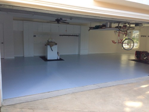 Battleship Gray Epoxy Paint : Before and after garage walls ceilings semi gloss white