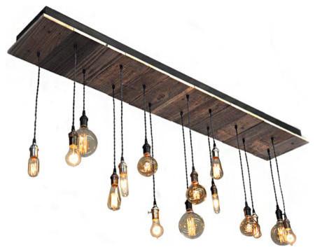 Reclaimed Wood Rustic Light Fixture Suspended