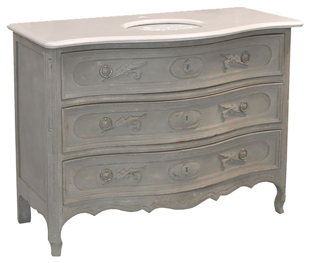 French Gray and Marble Vanity Traditional Bathroom