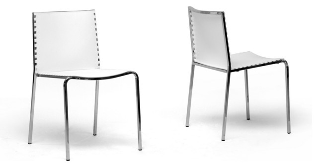 Gridley White Plastic Modern Dining Chairs Set Of 2
