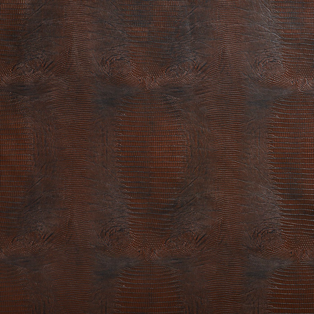 Brown Textured Alligator Faux Leather Vinyl By The Yard - Contemporary - Upholstery Fabric - by ...