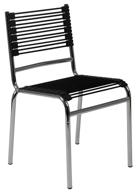 Bungie chrome stacking chairs low back set for Modern low back dining chairs