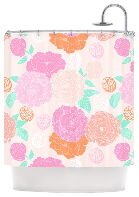 Anneline Sophia Peonies Pink Peach Teal Shower Curtain Contempo