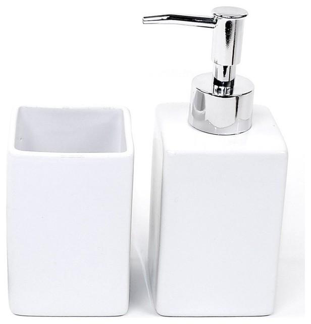 White Pottery 2 Piece Accessory Set Contemporary Bathroom Accessory Sets