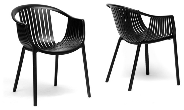 Grafton black plastic stackable modern dining chair set for Black plastic dining chairs