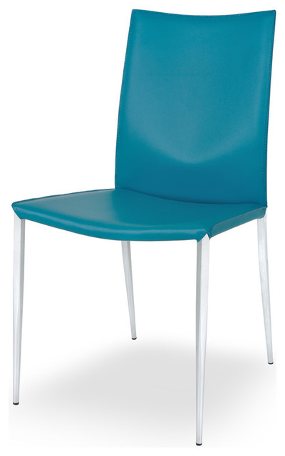 designer leather dining chair in turquoise set of 2