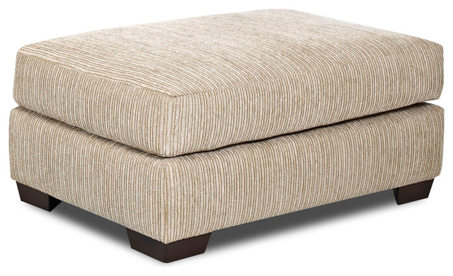 Turner Putty Beige Fabric Wood Ottoman Contemporary