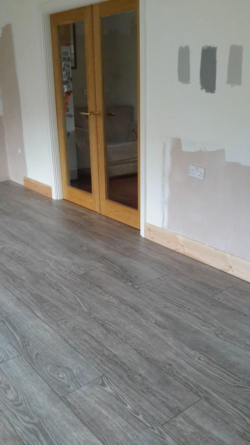 Gray Stained Hardwood Floors Kitchen