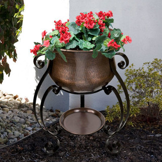 """19"""" Copper Planter on Wrought Iron Stand - Antique Copper / Black Powder Coat - Traditional ..."""