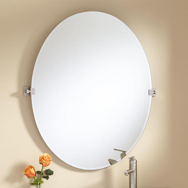 "Bathroom Tilt Mirror: 36"" Helsinki Oval Tilting Mirror Modern-bathroom-mirrors"