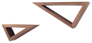 Triangular Floating Shelves, Walnut