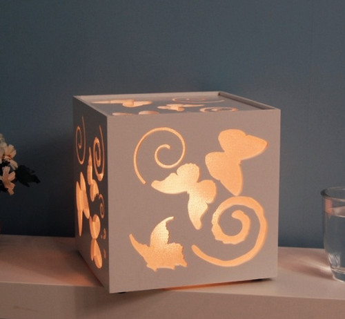 Butterfly pattern unique desk lamp white modern table for Unique bedroom lamps