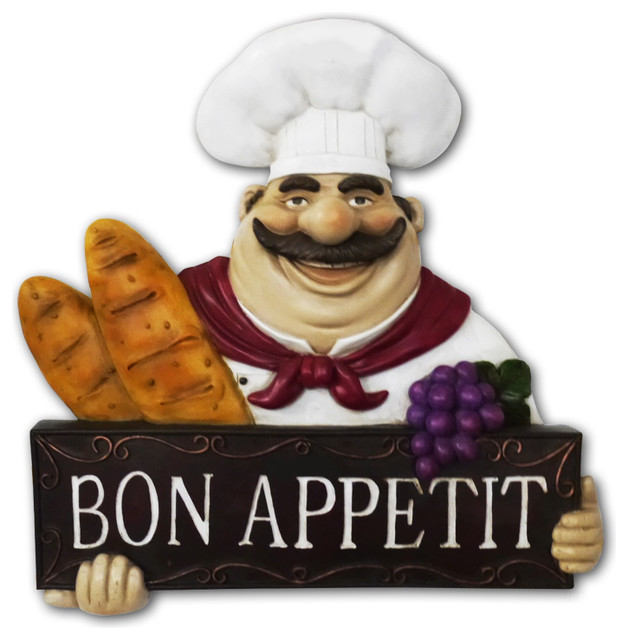 Chef Kitchen Statue Bon Appetit Wall Plaque Wall Art Decor