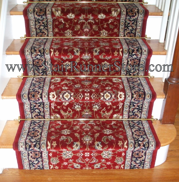 Straight Staircase Stair Runner With Decorative Hardware