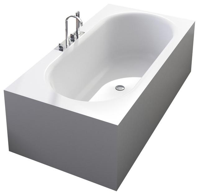 Adm matte white stand alone resin bathtub matte modern for Stand alone bathtubs modern