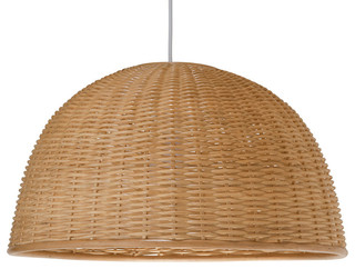 wicker dome pendant light natural exotique suspension. Black Bedroom Furniture Sets. Home Design Ideas