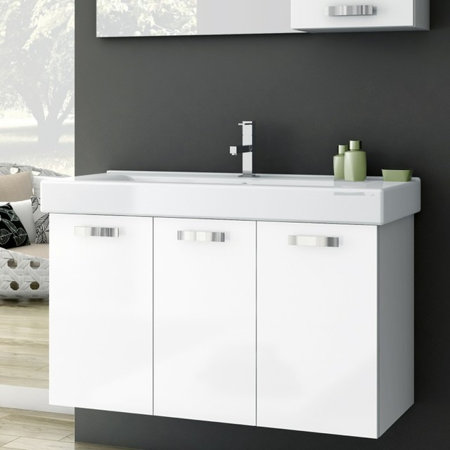 40 Inch Vanity Cabinet With Fitted Sink - Contemporary - Bathroom Vanities And Sink Consoles