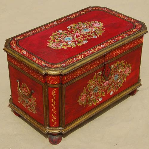 Eclectic Coffee Tables: Hand Painted Rare Ethnic Storage Trunk Toy Coffee Table