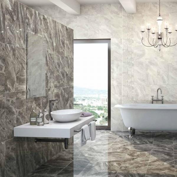 Nairobi large wall tiles gloss grey tiles direct tile for Bathroom decor nairobi