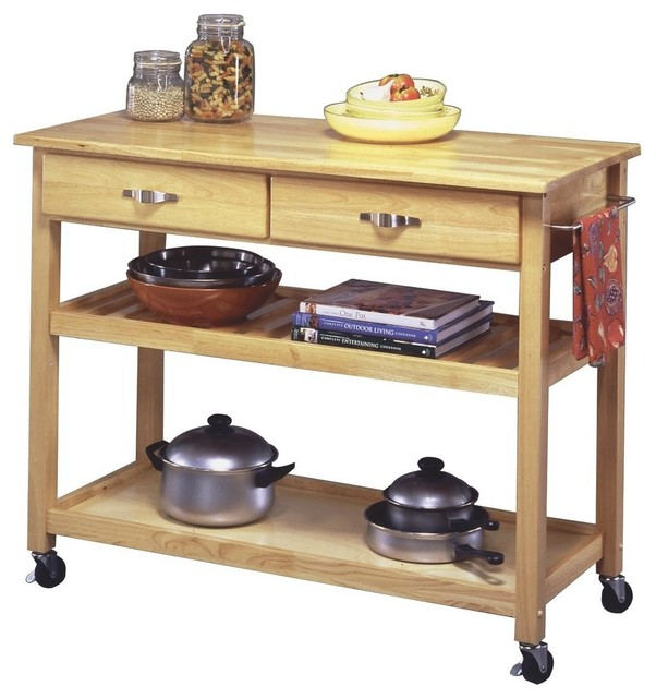 Natural designer utility cart transitional kitchen islands and kitchen carts by home Home styles natural designer utility cart