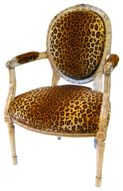 Louis Xvl Style Fauteuil With Leopard Print Velvet Upholstery Traditional Armchairs And