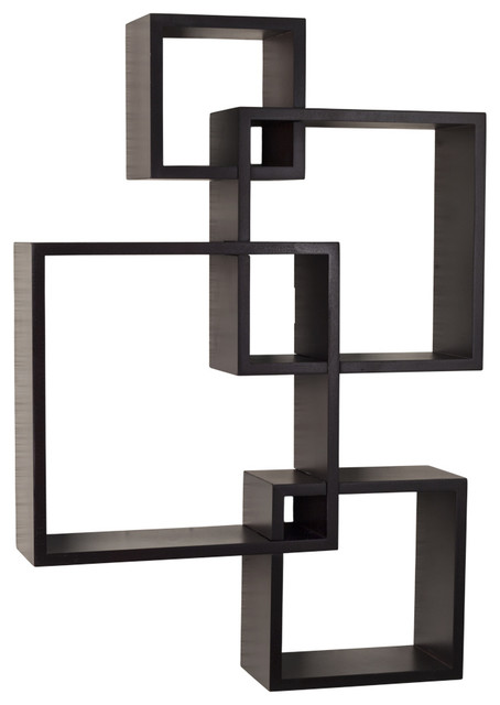Danya B Intersecting Cube Shelves, Espresso - Modern - Display And Wall Shelves - by Danya B