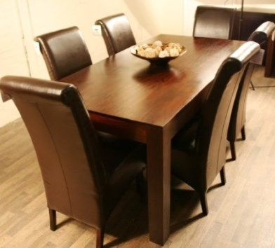 dark wood dining table and 6 chairs 2