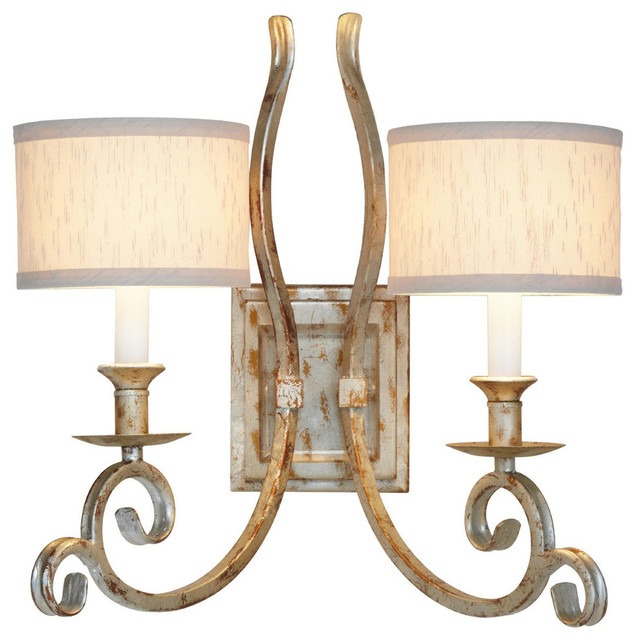Wall Sconces Double : AF Lighting Candice Olson Lucy Two Light Soft Gold Double Wall Sconce - Traditional - Wall Sconces