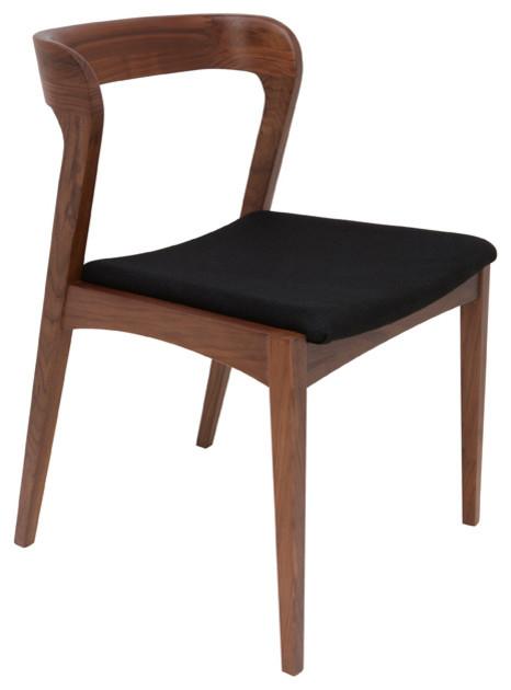 Bjorn Dining Chair Set Of 2 Black Fabric Tan Walnut
